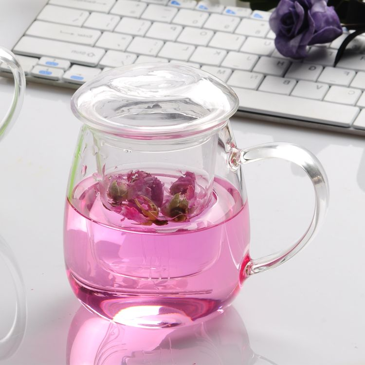 加工定制生产耐热玻璃花茶杯 过滤网玻璃杯子透明玻璃泡茶杯