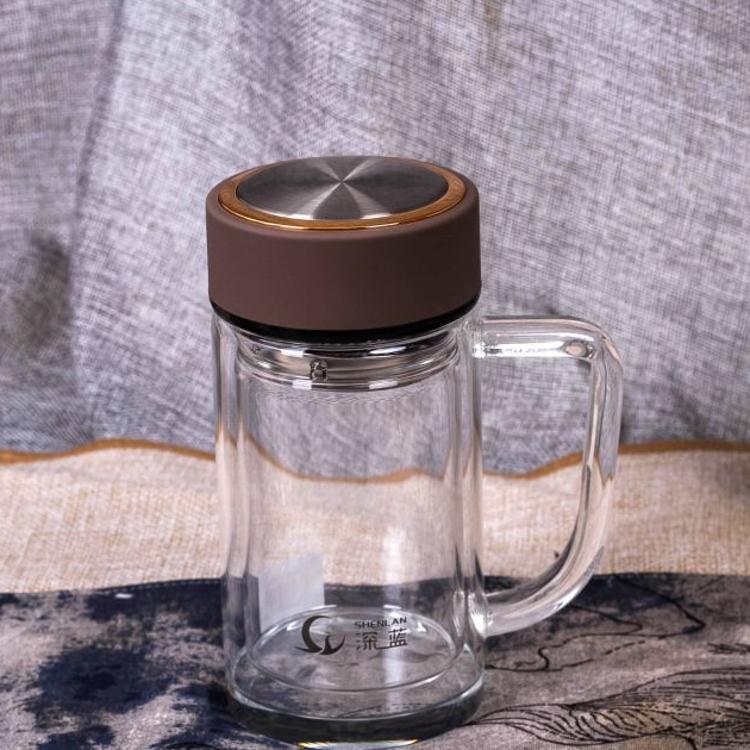 厚底高硼硅双层玻璃杯透明玻璃水杯带把商务玻璃办公杯礼品定制
