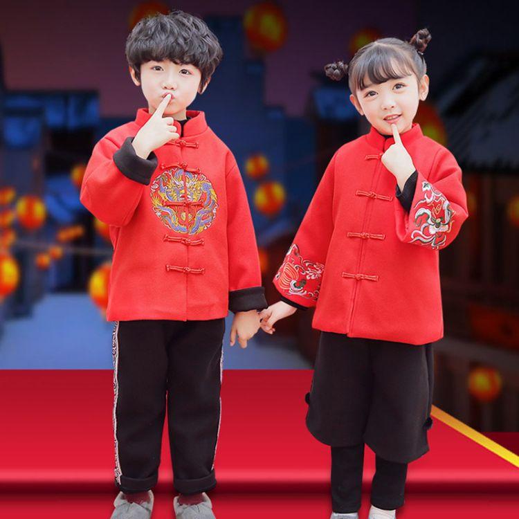 拜年服唐装儿童汉服女童过新年衣服宝宝男中国风童装冬装套装加厚