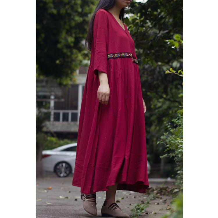 春款原创女装 女式民族风拼花边宽松袍子 V领七分袖棉麻连衣裙