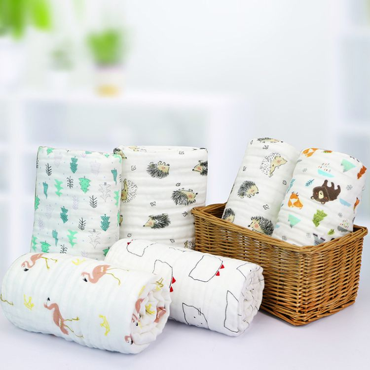 六层精梳棉水洗普密纱布浴巾印花柔软婴儿童被婴童抱被 6层包巾