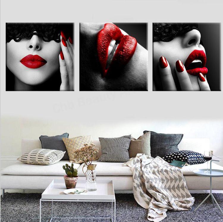 三联烈焰红唇画艺术装饰画酒店沙发墙画挂画艺术高清喷绘画无框画