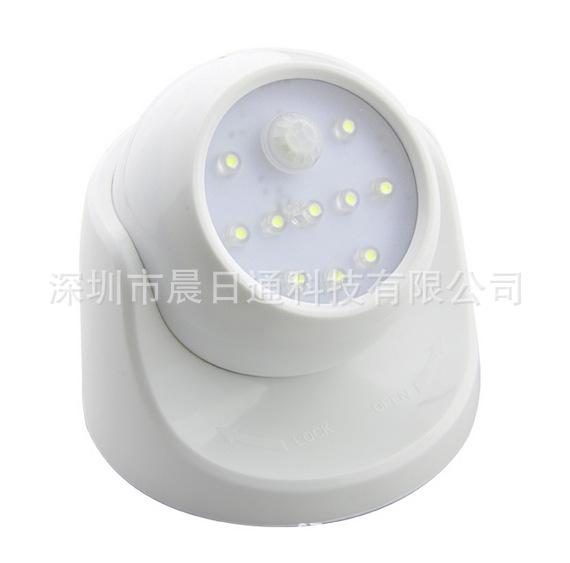 监控型人体感应灯干电池红外感应灯LED小夜灯可旋转感应灯