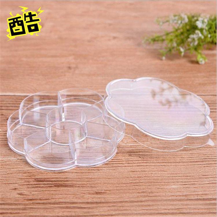 圆形7格梅花塑料盒 高透明ps环保塑料盒 生活用品整理盒批发
