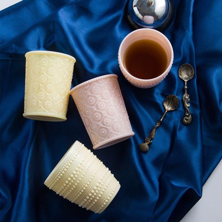 欧式个性仿玉浮雕玻璃水杯马克杯牛奶杯杯子办公室用杯