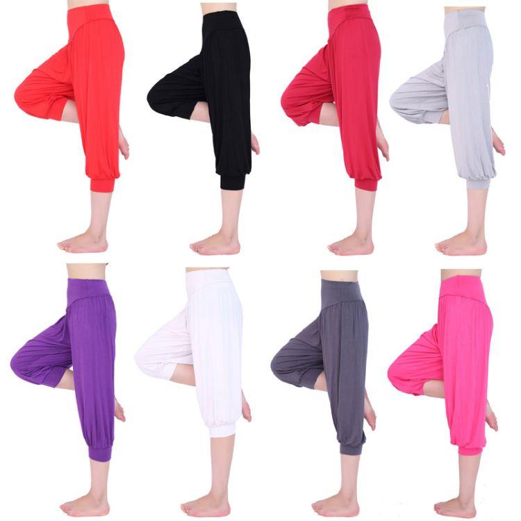 瑜伽服 瑜伽裤 瑜伽七分裤 舞蹈灯笼裤 休闲灯笼裤女A019