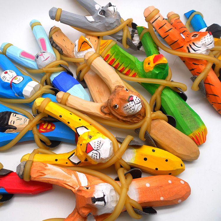 工艺木制弹弓木头木雕刻动物弹弓儿童玩具弹弓笔儿童玩具