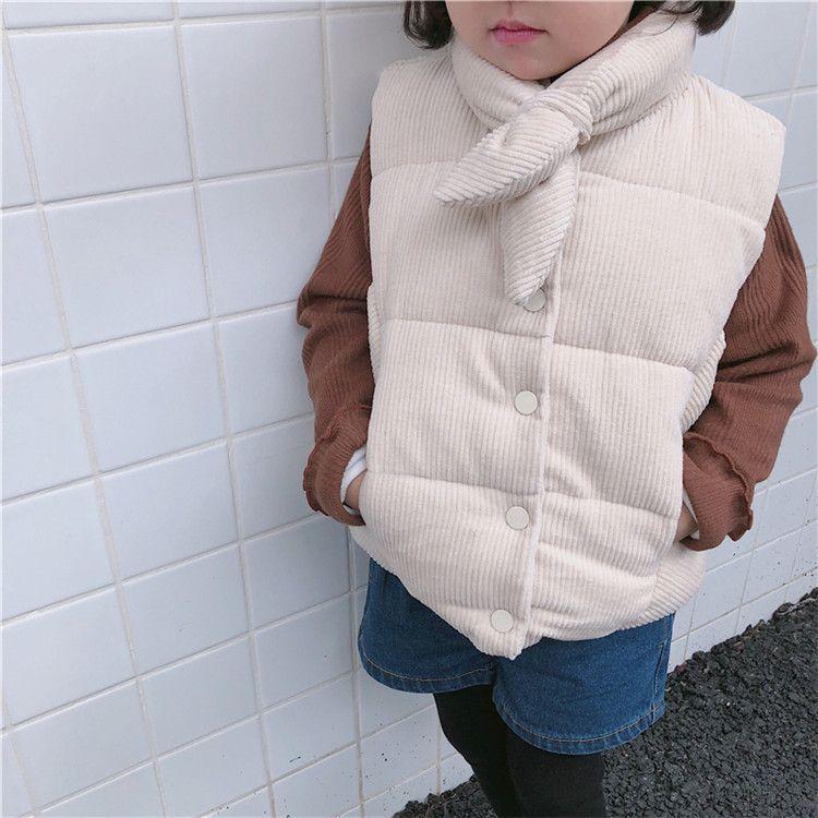 女童棉马甲灯芯绒领带2018冬装新款韩版女宝洋气外套2-3-4-5-6岁