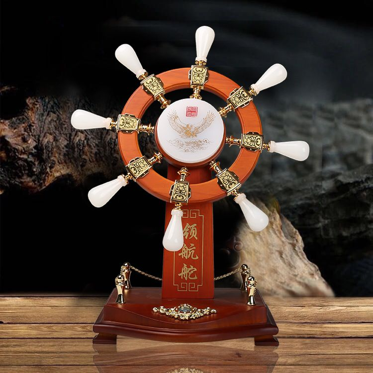 定制大号玉石领航舵公司开业庆典周年纪念合作送舵手工艺礼品摆件