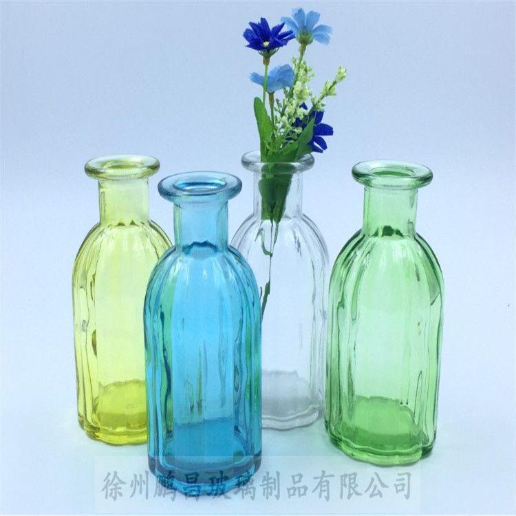 厂家批发 彩色玻璃瓶水培植物花瓶居家玻璃花瓶摆件条纹玻璃花瓶