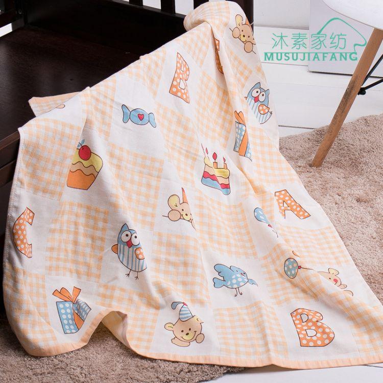 婴儿毛巾浴巾六层卡通童被纯棉纱布毛巾被吸水儿童宝宝蘑菇被盖毯
