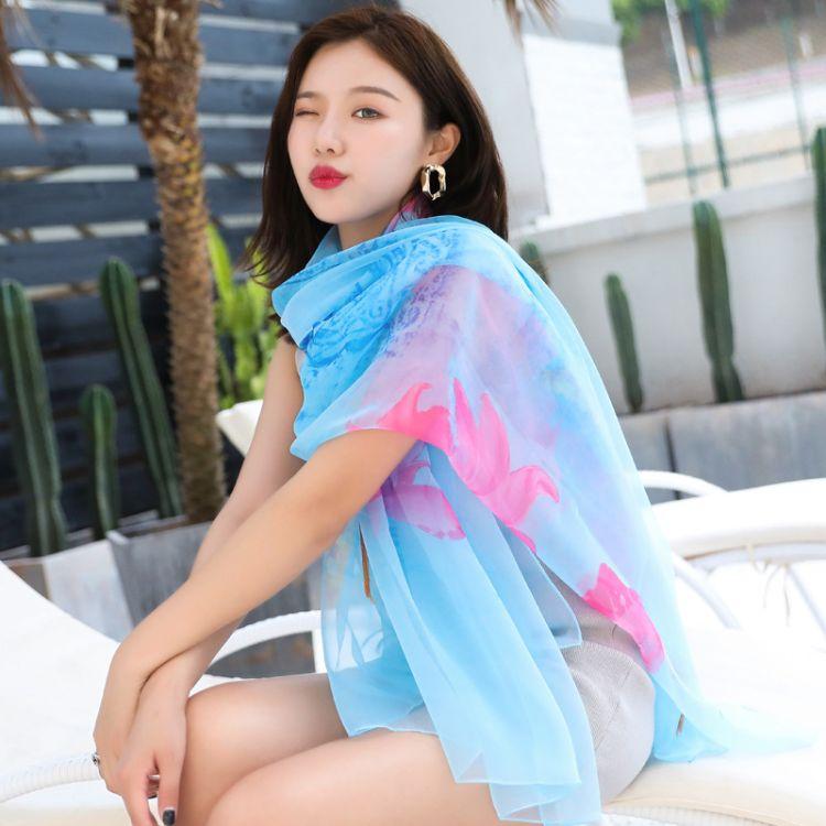 春夏新款印花休閑圍巾披肩兩用長款紗巾海邊度假防曬巾絲巾沙灘巾