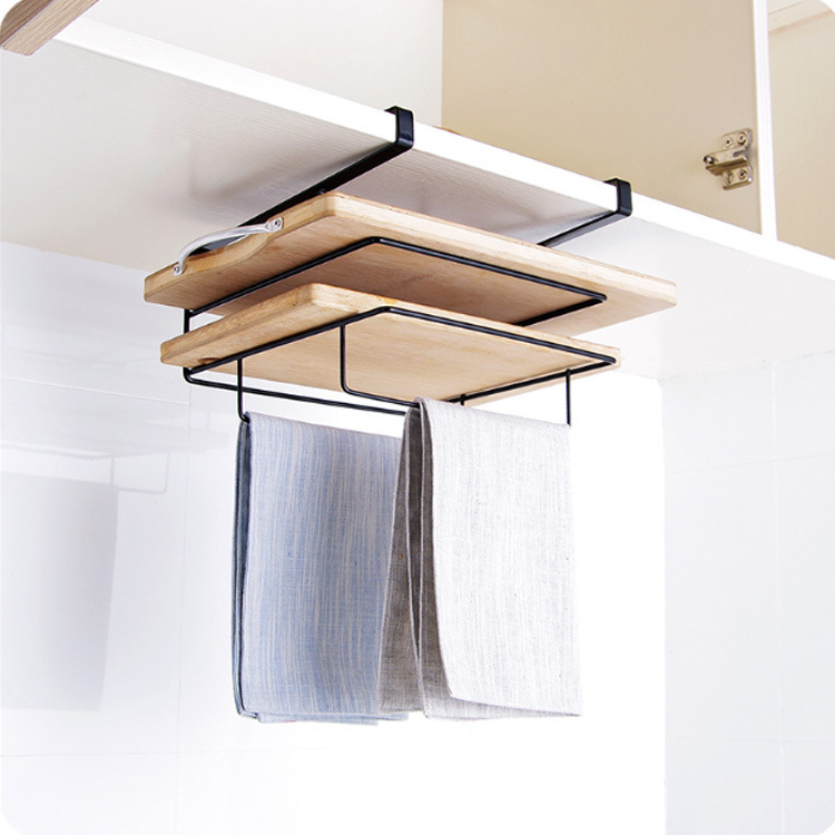 厨房置物架整理收纳架子免打孔多功能创意毛巾架浴巾架浴室挂件