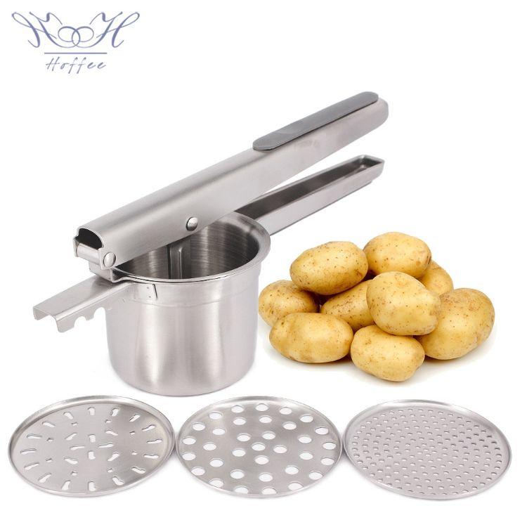 不锈钢土豆压泥器 �R薯器 3张更换网片 南瓜水果榨汁马铃薯捣碎器