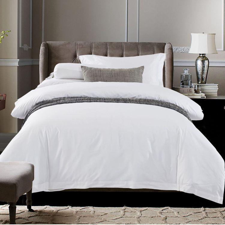 星级酒店宾馆床上用品布草纯棉白全棉加密喷气贡缎加厚床单四件套