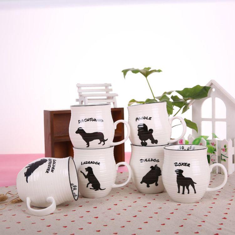 zakka创意名犬陶瓷陶瓷卡通马克杯子 水杯情侣杯促销礼品LOGO