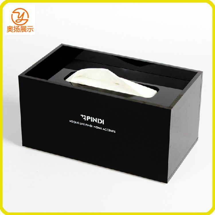 亚克力制品厂家定制 黑色亚克力酒店纸巾盒 有机玻璃长方形抽纸盒