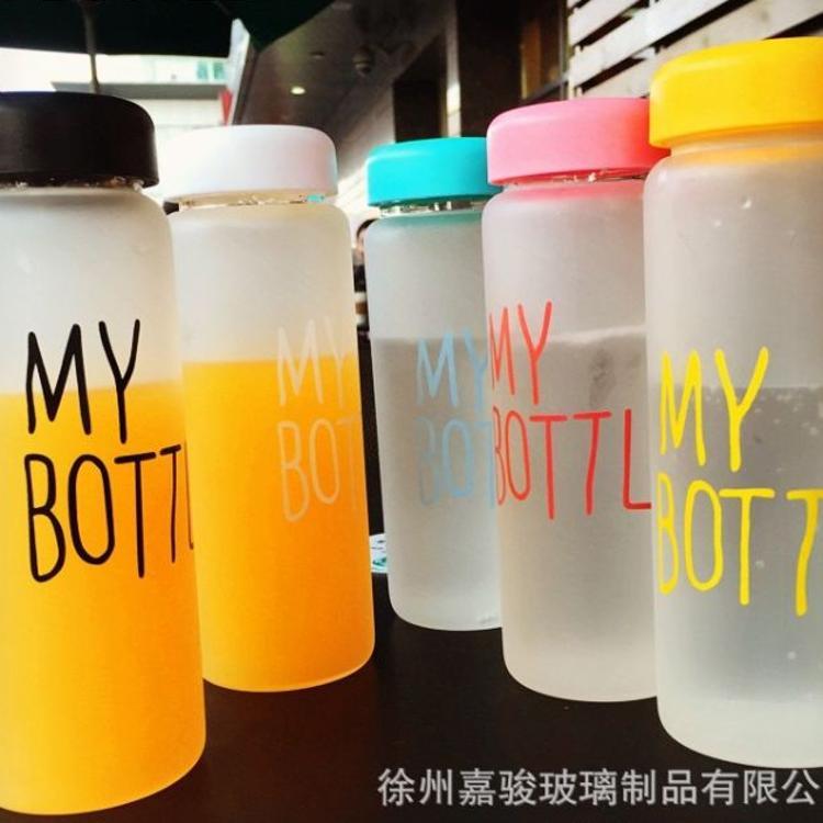 厂家供应玻璃水杯韩式新款创意磨砂玻璃杯带盖透明玻璃水杯定制