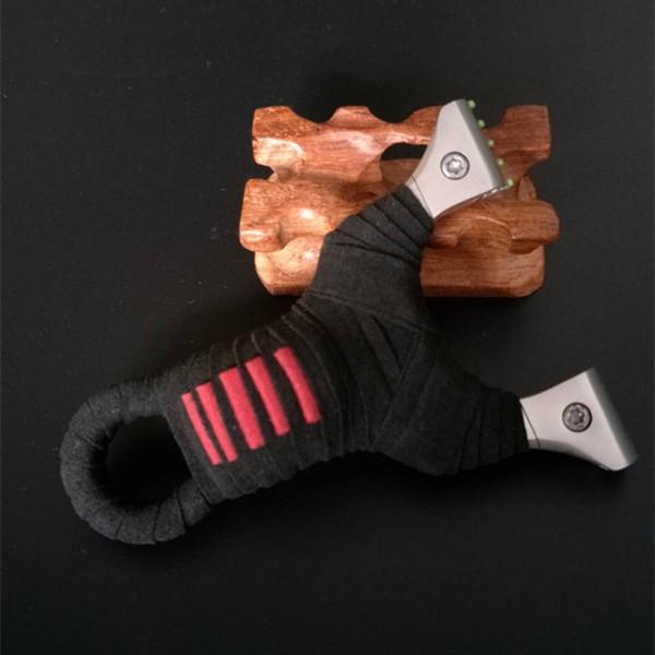 扁皮弹弓线切割夹片带光纤瞄点锁凤弹弓 304不锈钢射手超凡弹弓