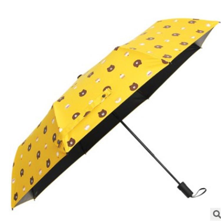 创意小熊小浣熊布朗熊折叠清新太阳遮伞防晒紫外线黑胶晴雨伞厂家
