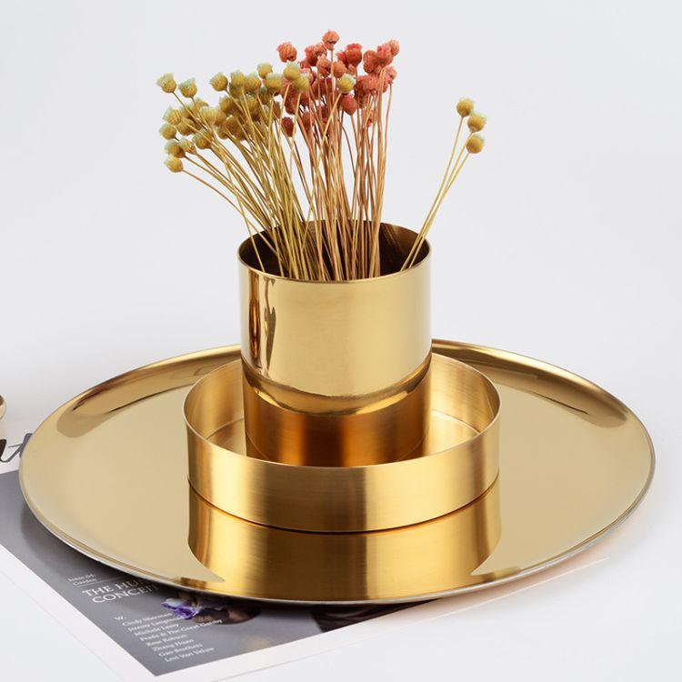 金色花瓶 ins风 北欧丹麦圆形 黄铜色笔筒 金属插花器 收纳杯摆件