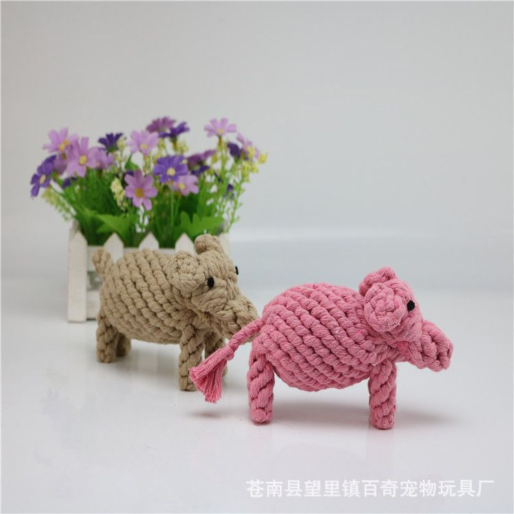 狗狗磨牙洁齿耐咬玩具 新款小猪棉绳编制宠物玩具