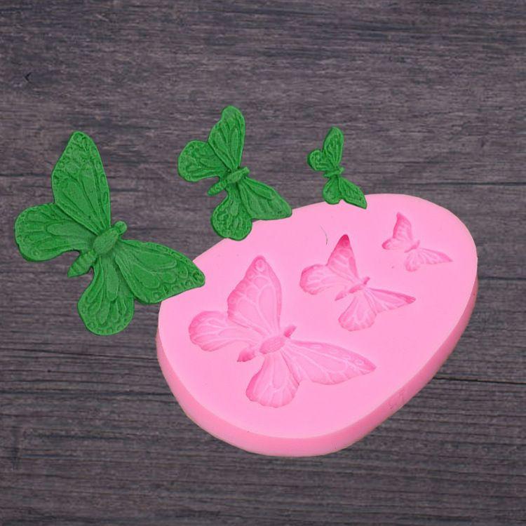 三个仿真蝴蝶 翻糖硅胶模具手工皂DIY蛋糕装饰巧克力蕾丝烘焙工具