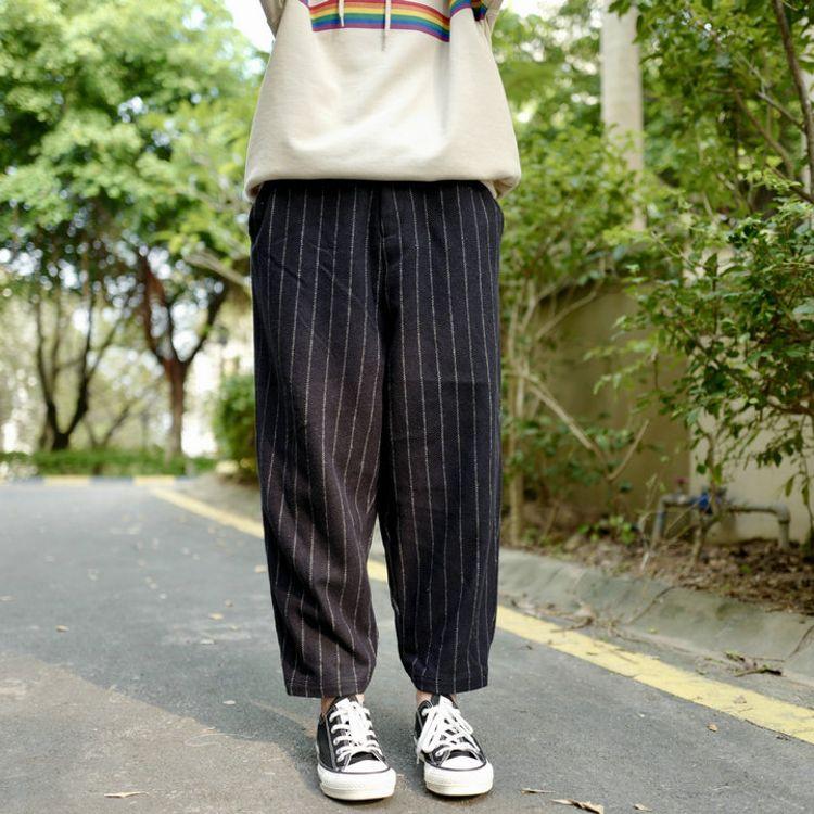 原单 日本森系 高品质毛呢竖条纹 亲肤里衬 松紧腰休闲裤四色