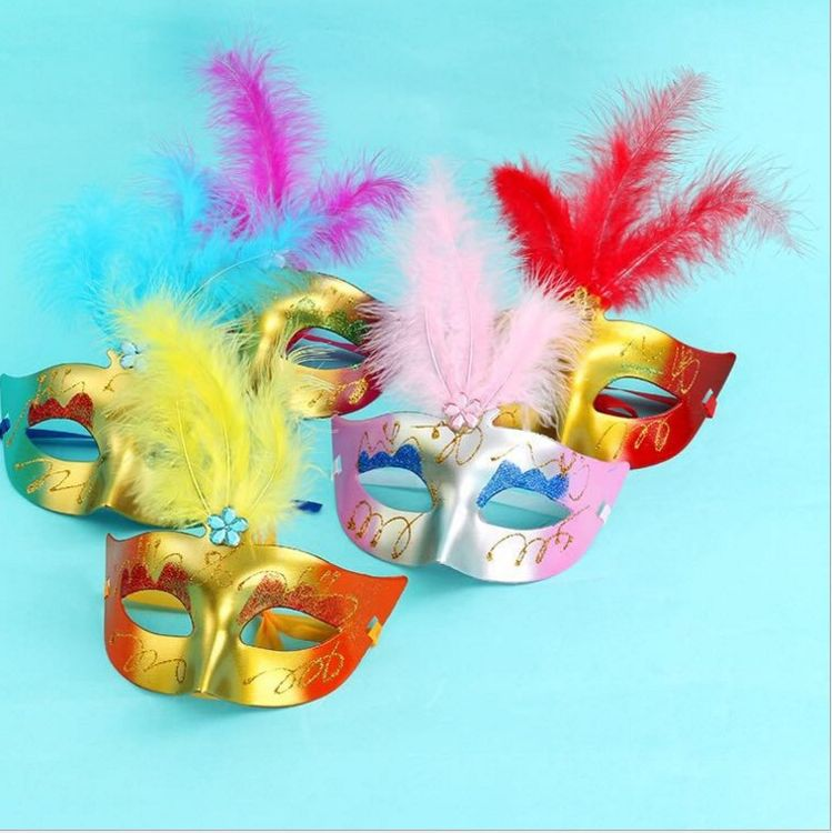 圣诞礼品节庆绒毛面具金粉公主面具儿童玩具可爱羽毛化妆舞会面具