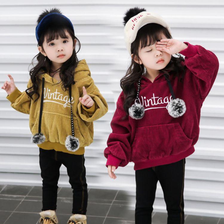 童装新品上衣灯芯绒加厚加绒卫衣秋冬中小童保暖韩版女童卫衣