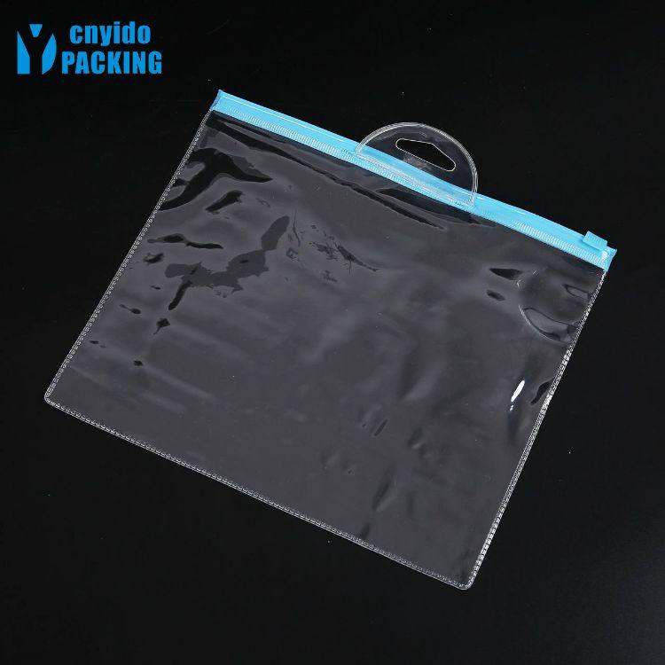 厂家直销透明PVC挂头拉链袋 PVC压烫LOGO 彩色拉链PVC防水袋