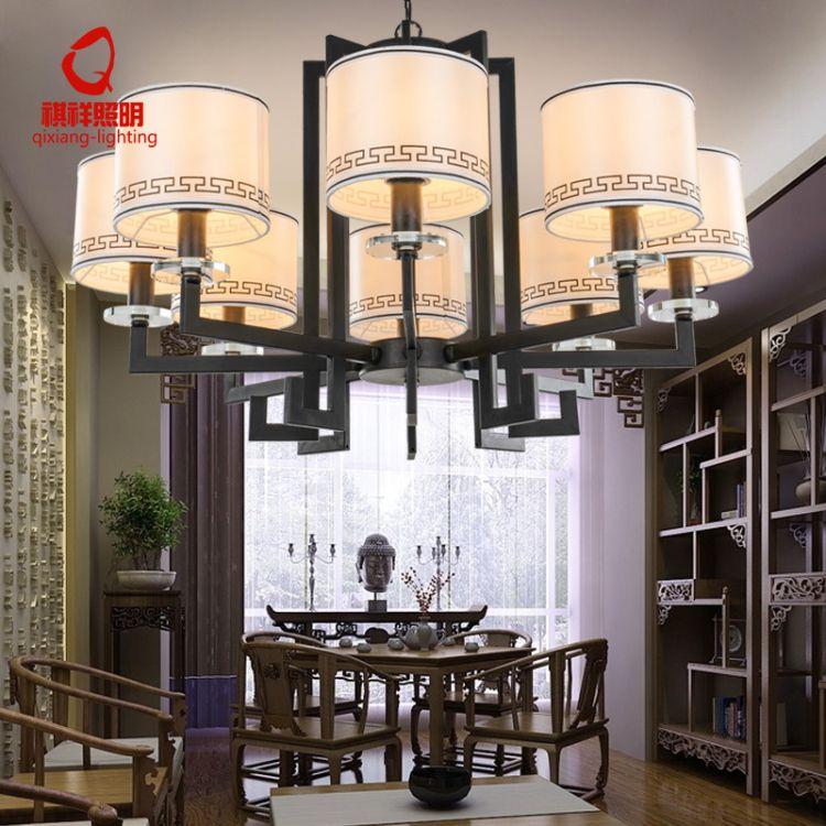 个性吊灯新中式铁艺吊灯布艺6头8头10头客厅灯创意书房卧室餐厅灯