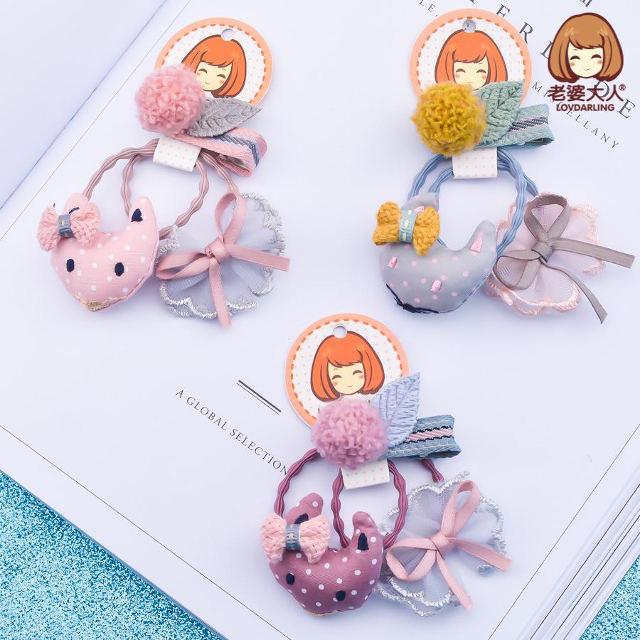 老婆大人韓版布藝小狐貍可愛花朵櫻桃蝴蝶結兒童發圈頭飾品組合