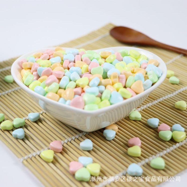 自然色素30斤一件彩色爱心抛光糖心形压片糖结婚喜糖散装厂家批发
