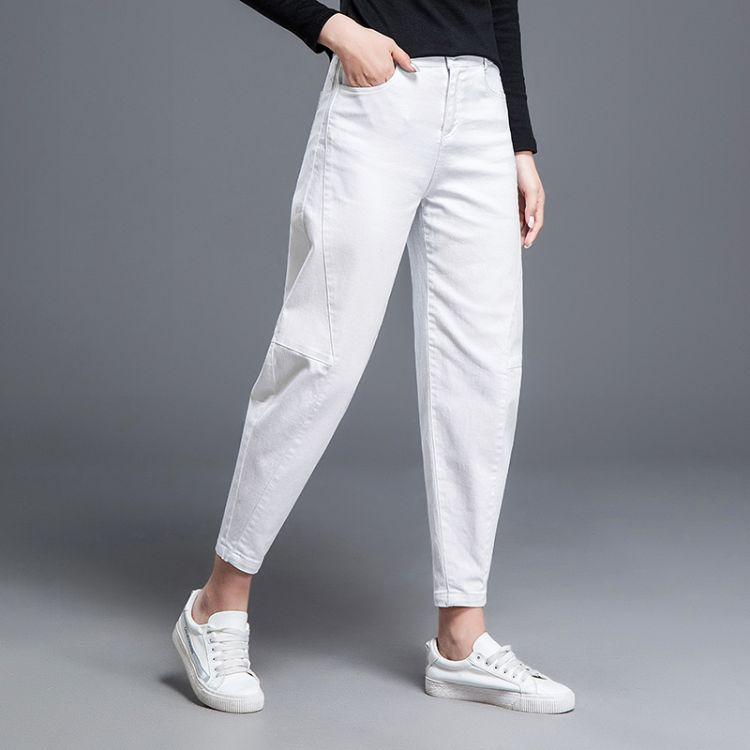 18夏季新款牛仔裤韩版休闲萝卜裤薄款白色小脚哈伦裤九分垮裤9913