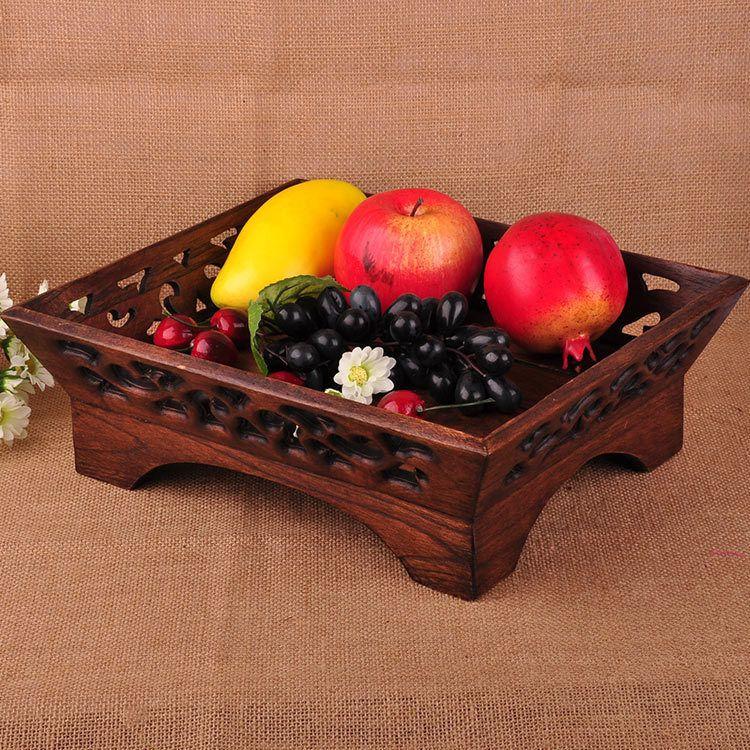 泰国木制工艺品柚木手工创意复古水果盘特色木雕糖果盘 101321