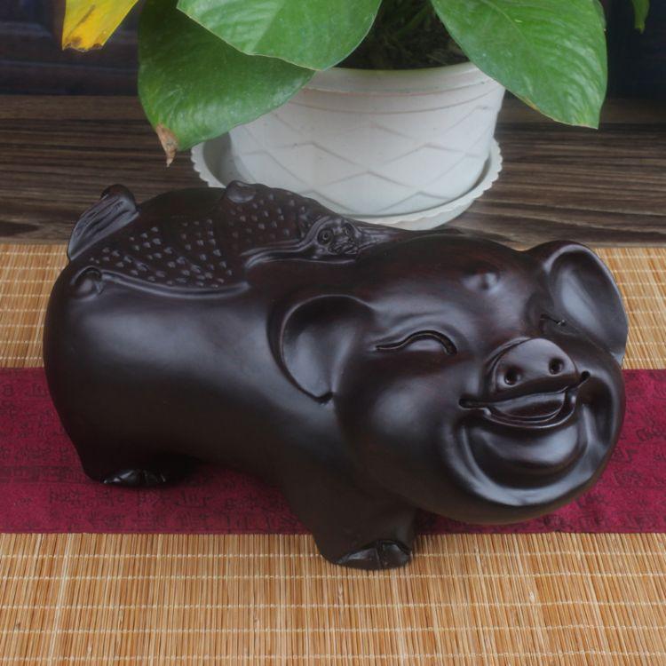 木雕工艺品黑檀发财对猪摆件 十二生肖黑檀木招财对猪木质工艺品