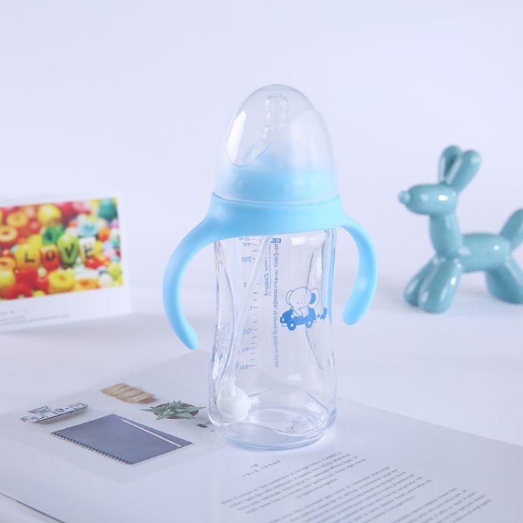 厂家批发  玻璃奶瓶 防摔 防胀气宽口径奶瓶 带手柄喂养奶瓶
