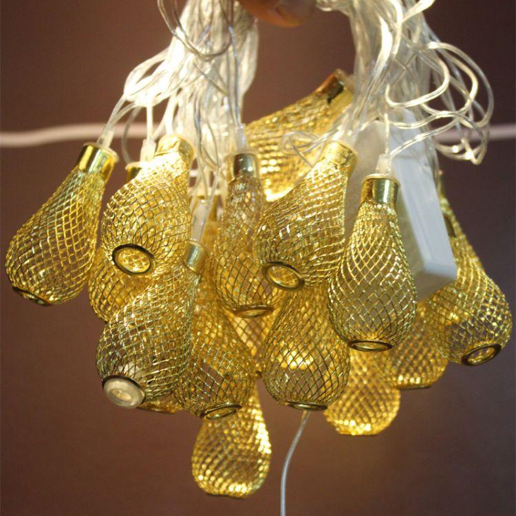新款20头彩灯金银色铁艺镂空水滴型串灯节日灯串圣诞灯LED节日灯