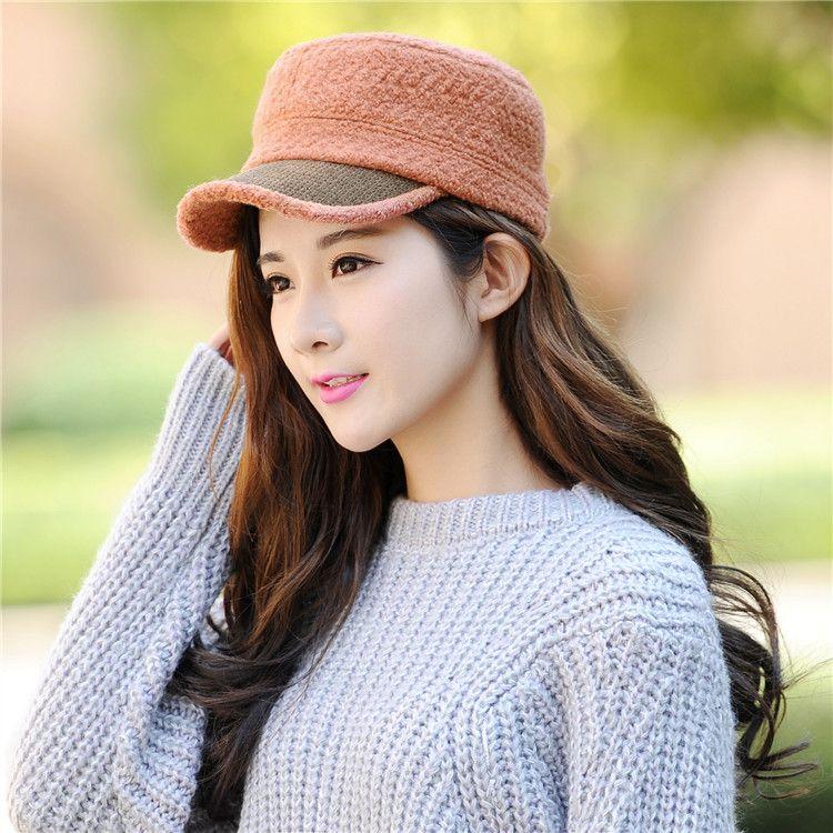新款歐美秋冬季俏皮平頂羊毛帽進口包邊羊毛呢子帽百搭女款帽子潮