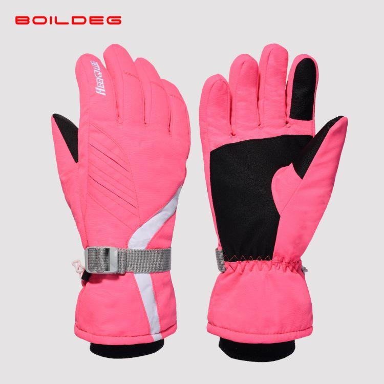 BOILDEG沸腾女款滑雪手套户外雪地防风抗寒保暖触屏滑雪手套批发