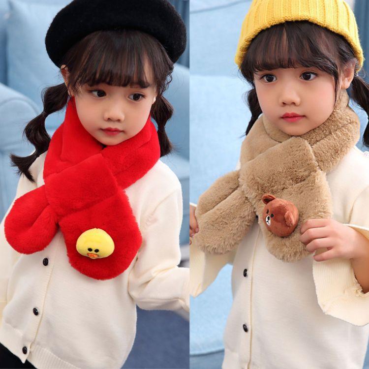 新款兒童圍巾秋冬季韓版男女童寶寶毛絨圍脖嬰兒加厚保暖小孩圍巾