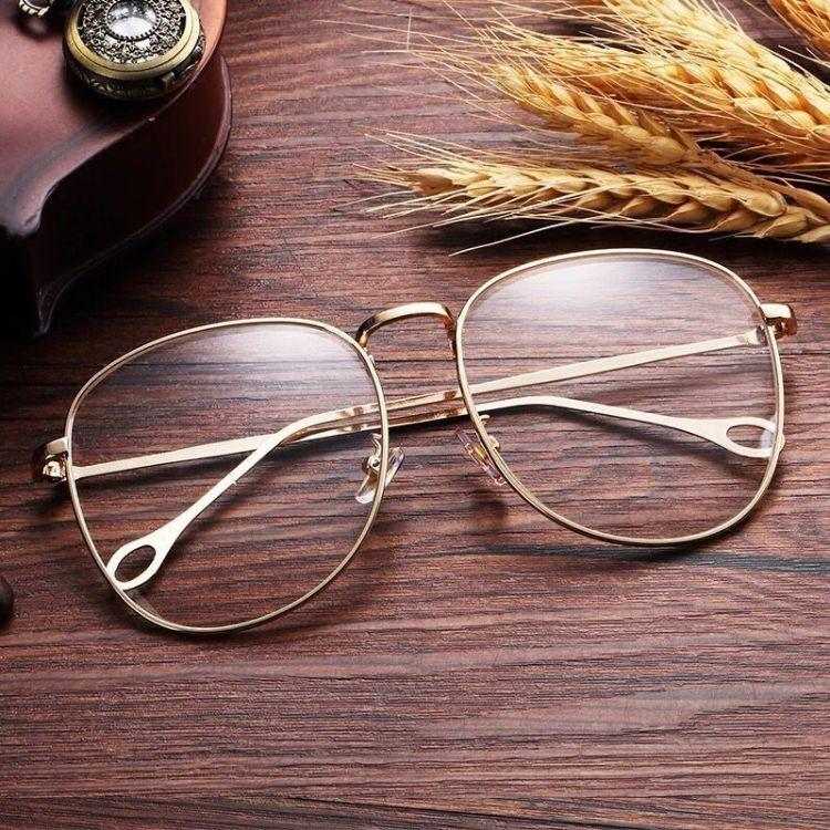 复古金属大框素颜眼镜框女圆框平光镜架圆脸男女士眼镜架厂家直销