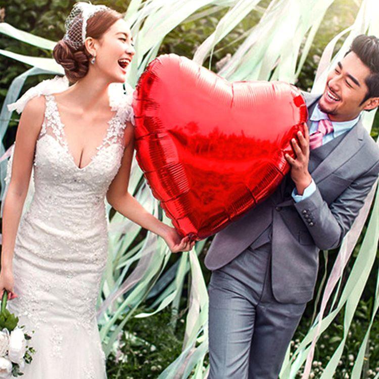 婚庆婚礼结婚婚房装饰布置心形铝箔气球 22寸爱心铝膜飘空氦气球