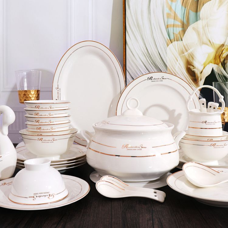 景德镇陶瓷碗套装28/56头餐具欧式金边碟盘勺真骨瓷防烫高脚碗