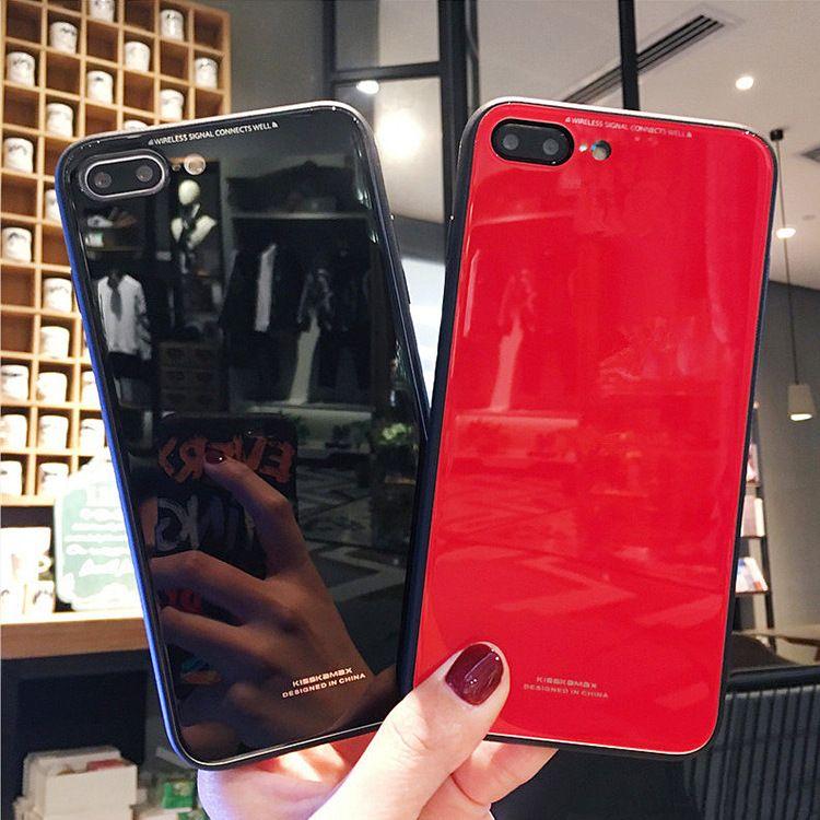 玻璃背面苹果7/8plus手机壳防摔iPhoneX硅胶套简约大气6s男女