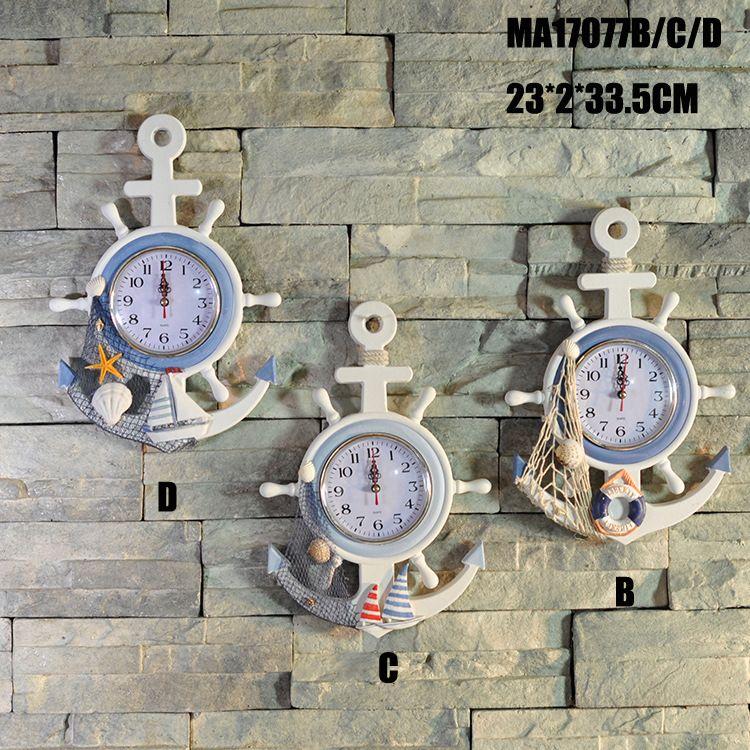 挂钟 舵手 木质地中海风格家居壁挂时钟 蓝白色 MA2206-MA17077