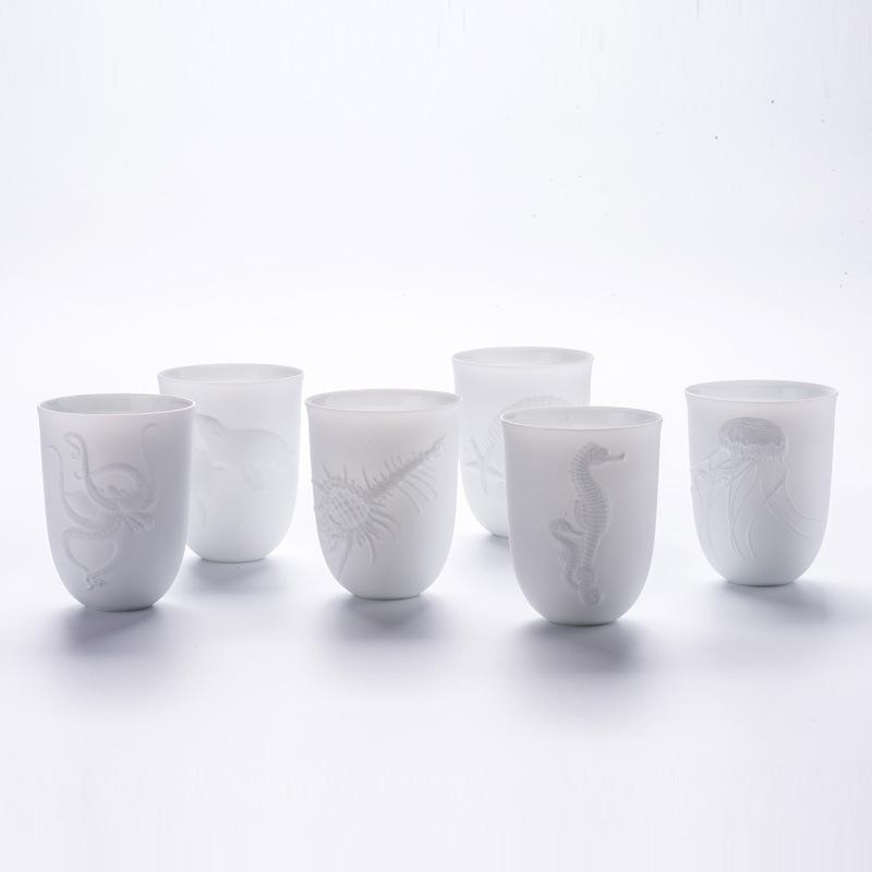 新品陶瓷杯高端瓷器聚美礼品陶瓷定制创意马克杯浮雕海洋杯6件套