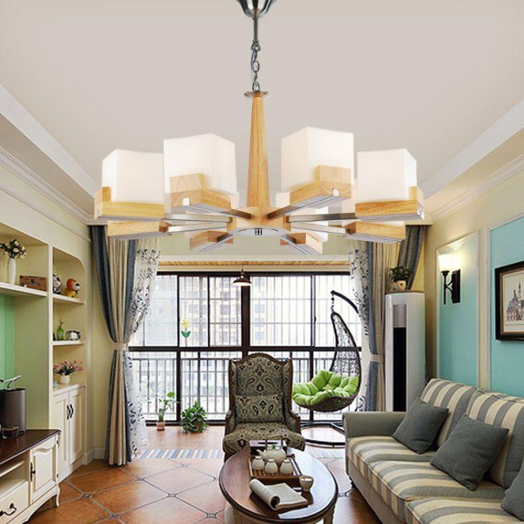 简约现代客厅灯三头餐厅吊灯北欧实木灯具木艺吊灯中式家用木灯