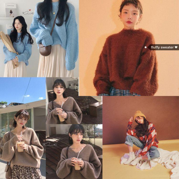 2018冬季女装毛衣新款毛衫外贸外套韩版时尚女士针织衫厚款服装